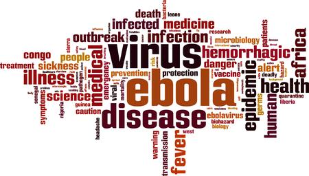 mortality: Ebola virus word cloud concept. Vector illustration