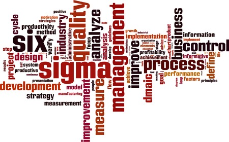define: Six sigma word cloud concept. Vector illustration
