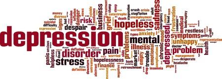 Depressie woord wolk concept. Vector illustratie