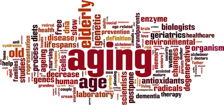 anti aging: Aging word cloud concept. Vector illustration