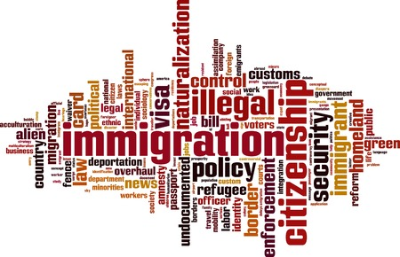 illegal alien: Immigration word cloud concept. Vector illustration