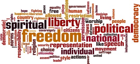 suffrage: Freedom word cloud concept. Vector illustration