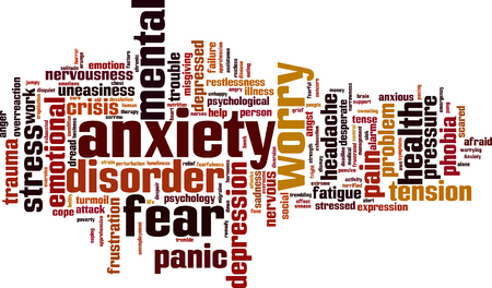 uneasiness: Anxiety word cloud concept. Vector illustration