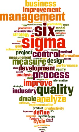sigma: Six sigma word cloud concept. Vector illustration