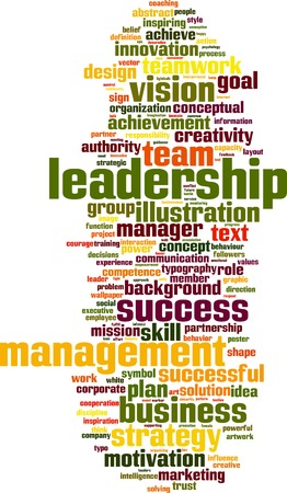 charismatic: Leadership word cloud vertical concept. Vector illustration