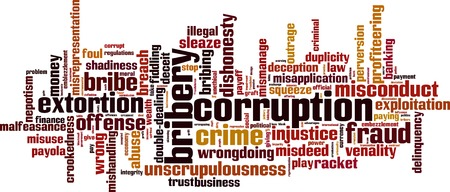 deviation: Corruption word cloud concept. Vector illustration