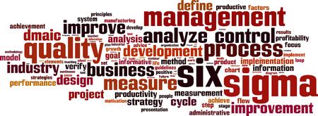Six sigma word cloud concept. Vector illustration