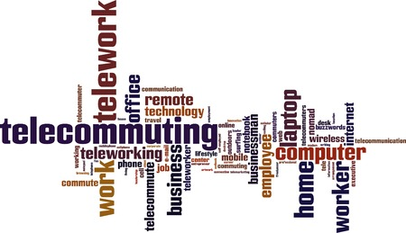 Telework word cloud concept. Vector illustration Vector