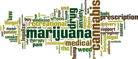 Marihuana woord wolk concept. Vector illustratie Stock Illustratie