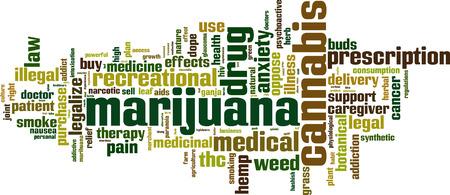 Marijuana word cloud concept. Vector illustration Vettoriali