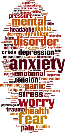 nervousness: Anxiety word cloud concept.