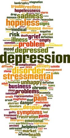 lifeless: Depression word cloud concept. Vector illustration Illustration