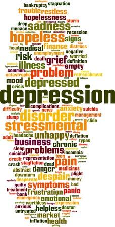 Depression word cloud concept. Vector illustration Illustration