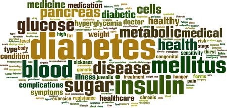 eduction: Diabetes word cloud concept. Vector illustration