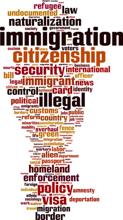 illegal immigrant: Immigration word cloud concept. Vector illustration