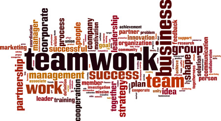 interpersonal: Teamwork word cloud concept. Vector illustration