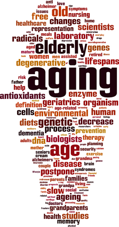 assisted living: Aging word cloud concept. Vector illustration