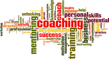 leadership potential: Coaching word cloud concept. Vector illustration