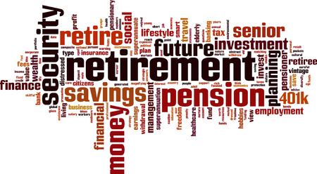 Pensionering woord wolk concept. Vector illustratie