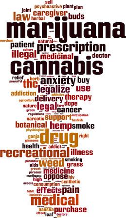 Marijuana word cloud concept. Vector illustration Illustration