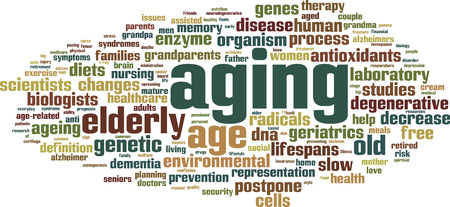 aging: Aging word cloud concept. Vector illustration