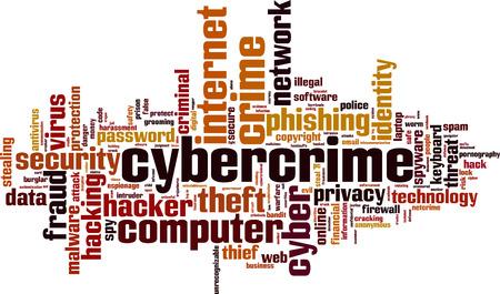 maltrato infantil: Ciberdelincuencia palabra concepto nube. Ilustraci�n vectorial