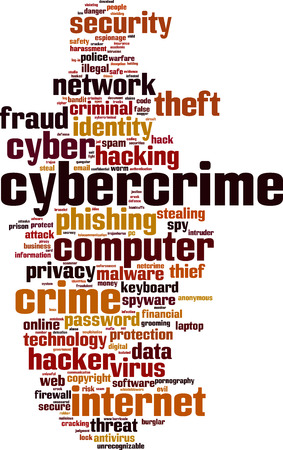 Cybercrime word cloud concept. Vector illustration Vector