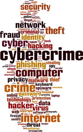 violating: Cybercrime word cloud concept. Vector illustration