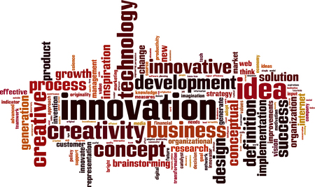novelties: Innovation word cloud concept. Vector illustration