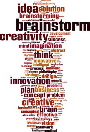 cogitate: Brainstorm word cloud concept. Vector illustration