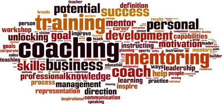 competence: Coaching word cloud concept. Vector illustration
