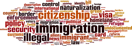 naturalization: Immigration word cloud concept. Vector illustration