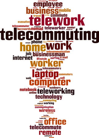 telework: Telework word cloud concept. Vector illustration Illustration