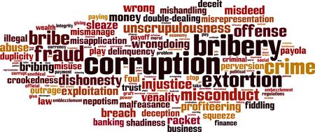 enten: Corruptie woord wolk concept. Vector illustratie