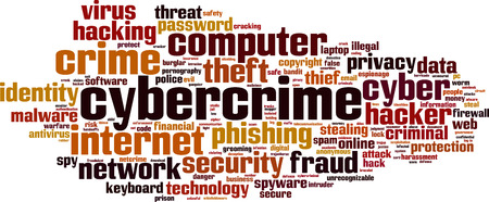 cyber war: Cybercrime word cloud concept. Vector illustration