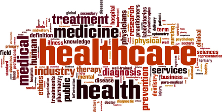 Healthcare word cloud concept. Vector illustration Vettoriali