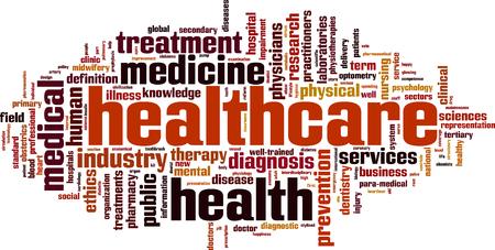 Healthcare word cloud concept. Vector illustration Illustration