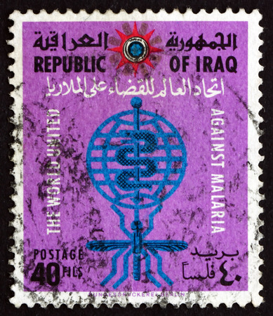 eradicate: IRAQ - CIRCA 1963: a stamp printed in the Iraq shows Malaria Eradication Emblem, WHO Drive to Eradicate Malaria, circa 1963 Editorial