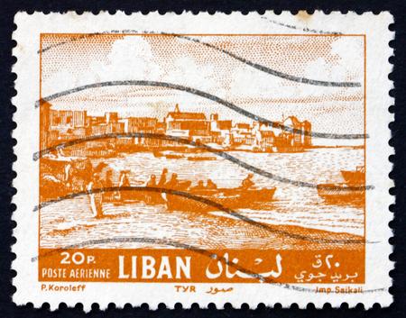 lebanon beach: LEBANON - CIRCA 1961: a stamp printed in the Lebanon shows Beach at Tyre, circa 1961