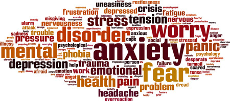worry tension: Anxiety word cloud concept. Vector illustration