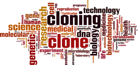 fertilized egg: Cloning word cloud concept. Vector illustration