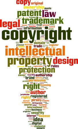 Parola di copyright nuvola concetto. Illustrazione vettoriale