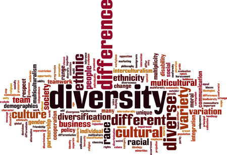 Diversity word cloud concept. Vector illustration