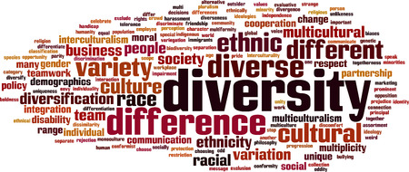 divergence: Diversity word cloud concept. Vector illustration