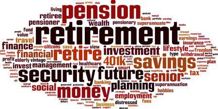 freetime: Retirement word cloud concept. Vector illustration