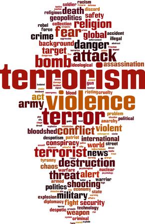Terrorism word cloud concept. Vector illustration