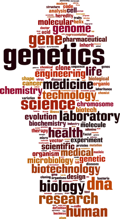 genetica: Genetica word cloud concetto. Illustrazione vettoriale Vettoriali