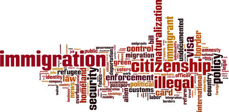 Immigration word cloud concept. Vector illustration