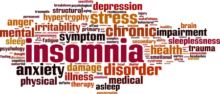 behavioral: Insomnia word cloud concept. Vector illustration