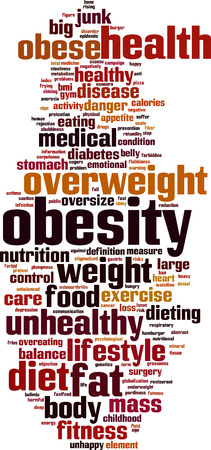fatness: Obesity word cloud concept. Vector illustration Illustration